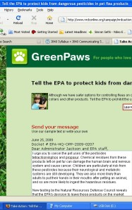 A screen shot of the simplesteps.org link where visitors can sign a petition to make pet products safer.