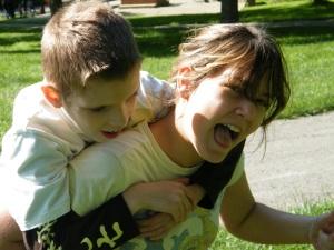 Two children enjoying the summer.
