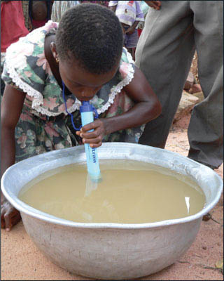 A LifeStraw filters enough water for one person for one year.